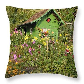 Beautiful Colorful Flower Garden Throw Pillow
