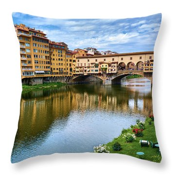 Ponte Vecchio On A Spring Day In Florence, Italy Throw Pillow
