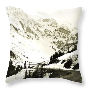 Beautiful Curving Drive Through The Mountains Throw Pillow by Marilyn Hunt