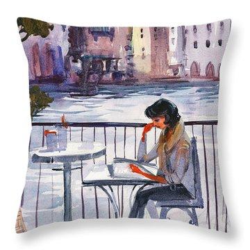 Beautiful Day, Reading Throw Pillow by Kristina Vardazaryan