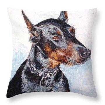 Beautiful Doberman Throw Pillow by Tatjana Popovska
