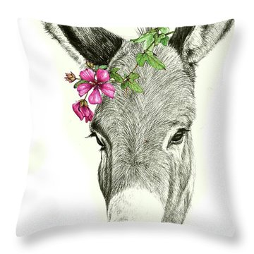 Beautiful Donkey Throw Pillow by Heidi Kriel
