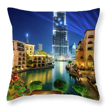 Beautiful Downtown Area In Dubai At Night, Dubai, United Arab Emirates Throw Pillow