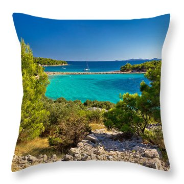 Beautiful Emerald Beach On Murter Island Throw Pillow by Brch Photography