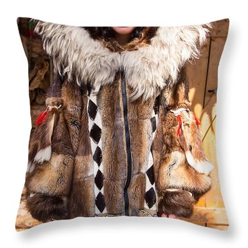 Beautiful Fashioned Coat With Wolverine Hood. Throw Pillow by Allan Levin