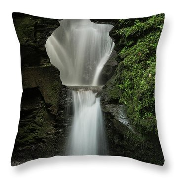Beautiful Flowing Waterfall With Magical Fairytale Feel In Lush  Throw Pillow