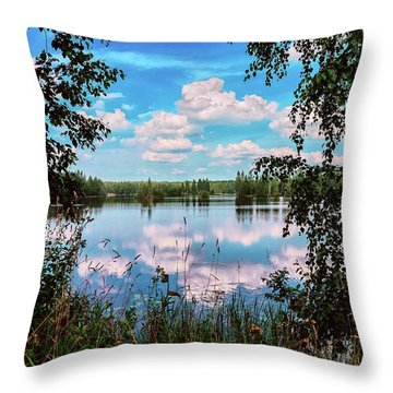 beautiful forest lake in Sunny summer day Throw Pillow