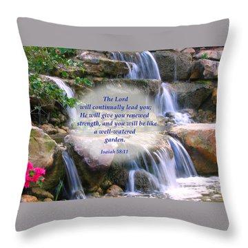 Throw Pillow featuring the photograph Beautiful Garden And Waterfall by Yali Shi