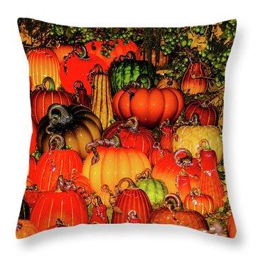 Throw Pillow featuring the photograph Beautiful Glass Pumpkins by Louis Dallara