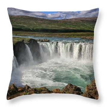 Beautiful Godafoss Waterfall In Iceland Throw Pillow