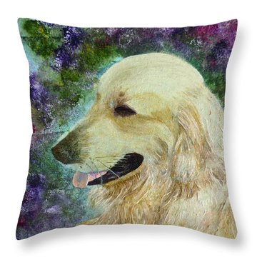 Throw Pillow featuring the painting Beautiful Golden by Claire Bull