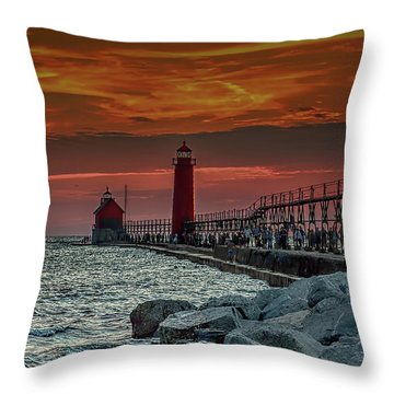 Sunset At Grand Haven Pier Throw Pillow