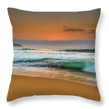 Beautiful Hazy Sunrise Seascape  Throw Pillow
