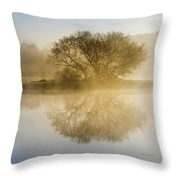 Throw Pillow featuring the photograph Beautiful Misty River Sunrise by Christina Rollo