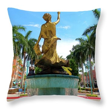 Beautiful Mizner Park In Boca Raton, Florida. Throw Pillow