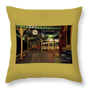 Throw Pillow featuring the photograph Beautiful Old Albury Station By Kaye Menner by Kaye Menner
