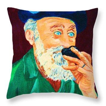 Beautiful Old Blue Eyes Throw Pillow by Carole Spandau