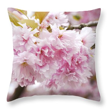 Beautiful Pink Blossoms Throw Pillow by Maria Janicki