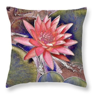 Beautiful Pink Lotus Abstract Throw Pillow