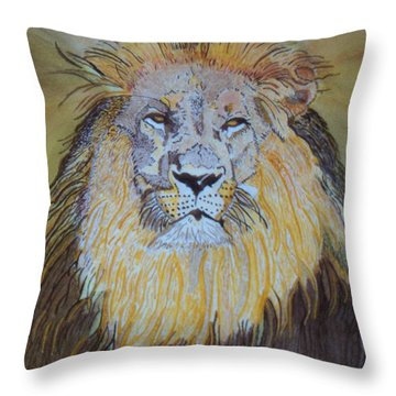 Throw Pillow featuring the painting Beautiful Pose Of The King by Connie Valasco