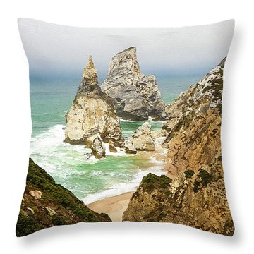 Beautiful Praia Da Ursa In Portugal Throw Pillow