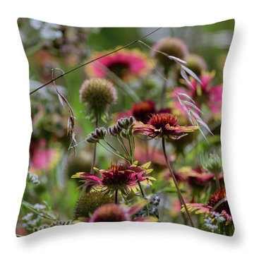 Beautiful Purple And Yellow Wildflowers Throw Pillow