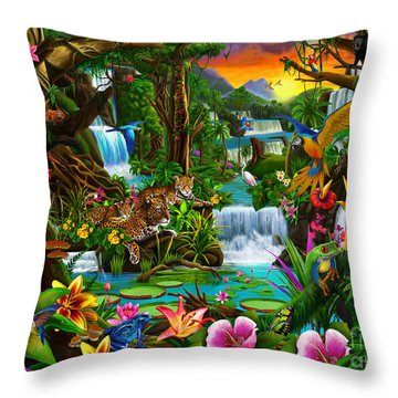 Beautiful Rainforest Throw Pillow by Gerald Newton