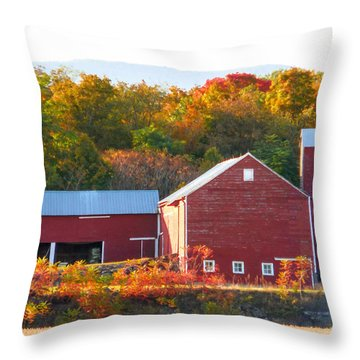 Beautiful Red Barn 2 Throw Pillow by Lanjee Chee