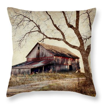 Beautiful Red Barn-near Ogden Throw Pillow by Kathy M Krause