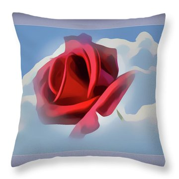 Beautiful Red Rose Cuddled By Cumulus Throw Pillow