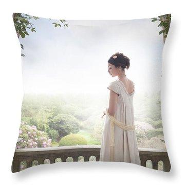 Beautiful Regency Woman Beneath A Wisteria Arch Throw Pillow