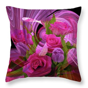 Beautiful Rose Bouquet Montage Throw Pillow