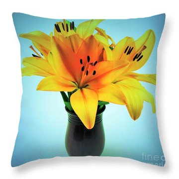 Throw Pillow featuring the photograph Beautiful Royal Lilies  by Ray Shrewsberry