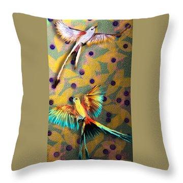 Throw Pillow featuring the digital art Beautiful Scissor-tailed Flycatchers by Iowan Stone-Flowers