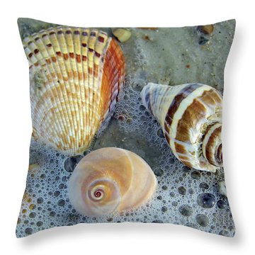 Beautiful Shells In The Surf Throw Pillow