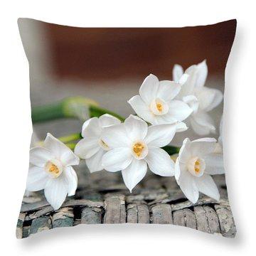 Beautiful Spring Paperwhites Throw Pillow