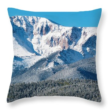 Beautiful Spring Snow On Pikes Peak Colorado Throw Pillow
