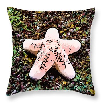 Beautiful Starfish In The Coral Reef Throw Pillow by Lanjee Chee