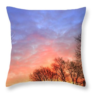 Beautiful Sunrise After Blizzard  Throw Pillow