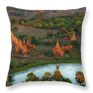 Throw Pillow featuring the photograph Beautiful Sunrise In Bagan by Pradeep Raja Prints