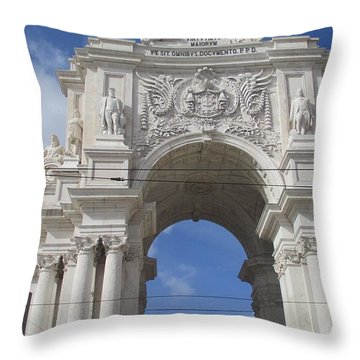 Beautiful Triumphal Arc In Lisbon Throw Pillow