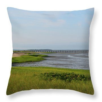 Beautiful Views Of Powder Point Bridge And Duxbury Bay Throw Pillow