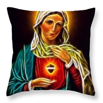 Beautiful Virgin Mary Sacred Heart Throw Pillow