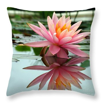 Beautiful Water Lily In A Pond Throw Pillow