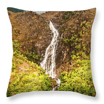 Beautiful Waterfall In Sunlight Throw Pillow