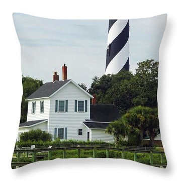 Beautiful Waterfront Lighthouse Throw Pillow
