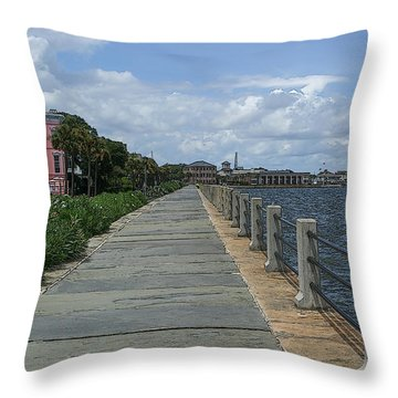 Beautiful Waterfront Walkway Throw Pillow