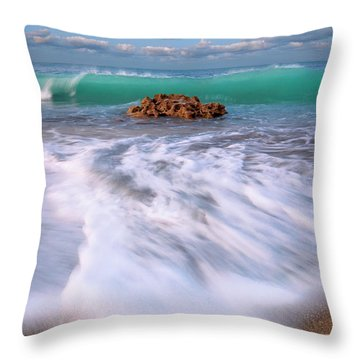Beautiful Waves Under Full Moon At Coral Cove Beach In Jupiter, Florida Throw Pillow by Justin Kelefas