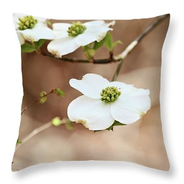 Throw Pillow featuring the photograph Beautiful White Flowering Dogwood Blossoms by Stephanie Frey