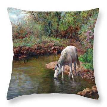 Beautiful White Horse And Enchanting Spring Throw Pillow